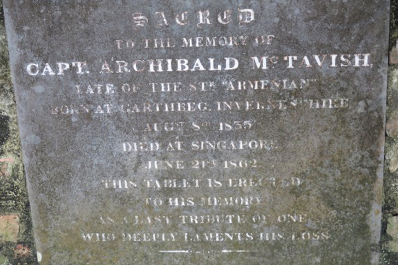 Sacred to the memory of Capt. Archibald McTavish, late of the Str Armenian