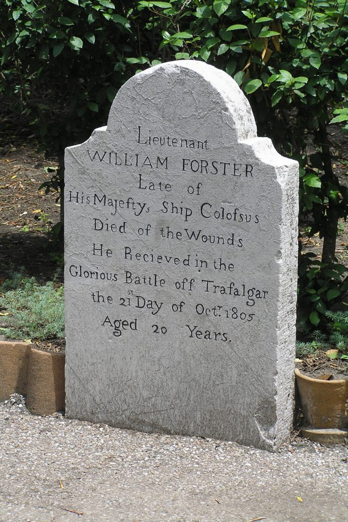 Gibralter Grave of Lt William Forster, HMS Colossus, died of wounds received in Battle of Trafalgar
