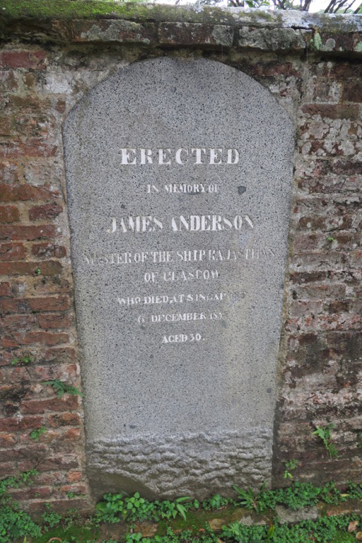 Erected in memory of James Anderson, master of the ship Rajasthan of Glasgow