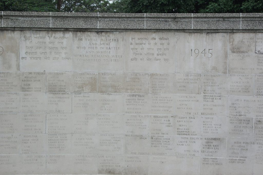 An honour wall to the Indian soldiers