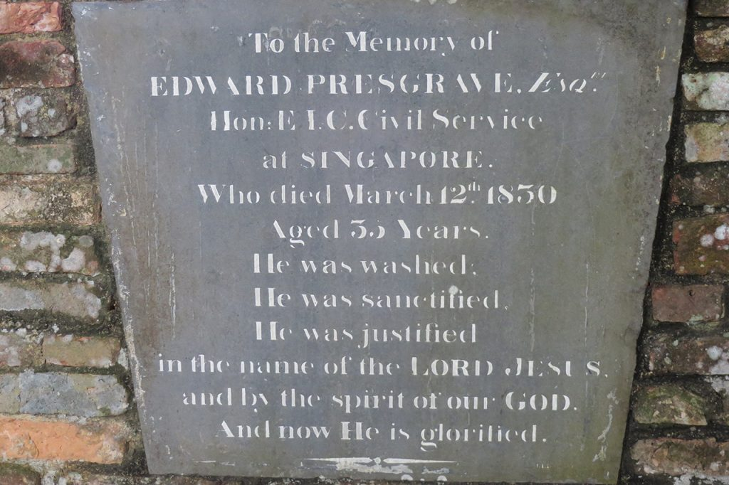 Edward Presgrave Esquire, Hon EIC Civil Service at Singapore