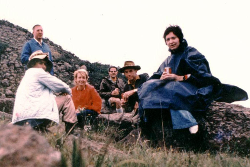 Ken, Darrell, Heather, SB, Midge and Tania at Devil's Pass, 1973