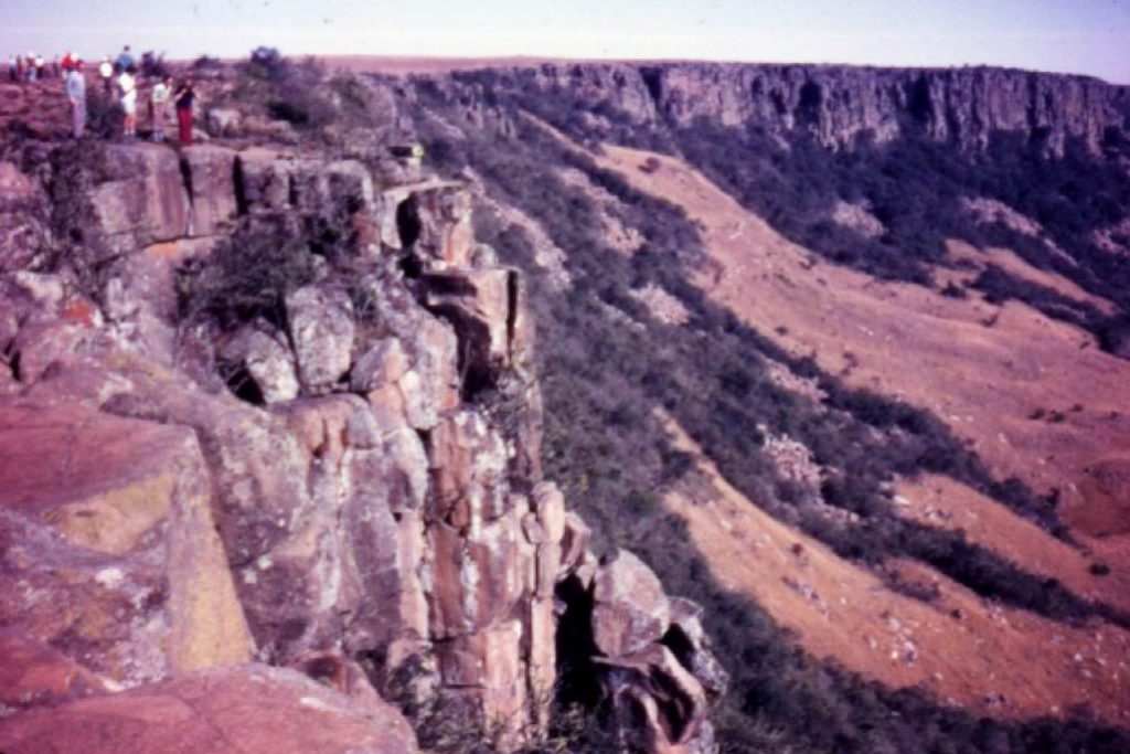 Northern facing cliffs in Hlobane note people in the top left hand corner
