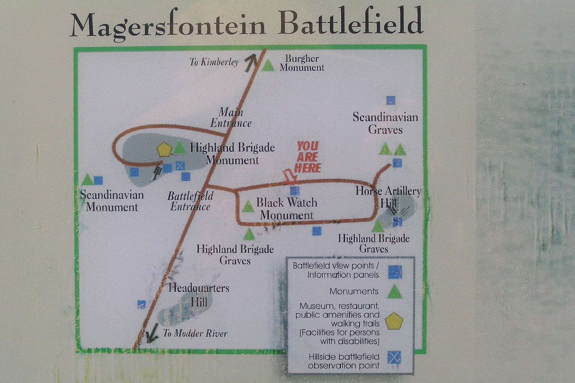 A plaque at Magersfontein showing major features