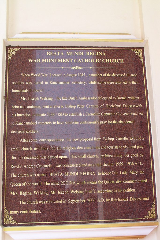 Beata Mundi Church, WW2 plaque