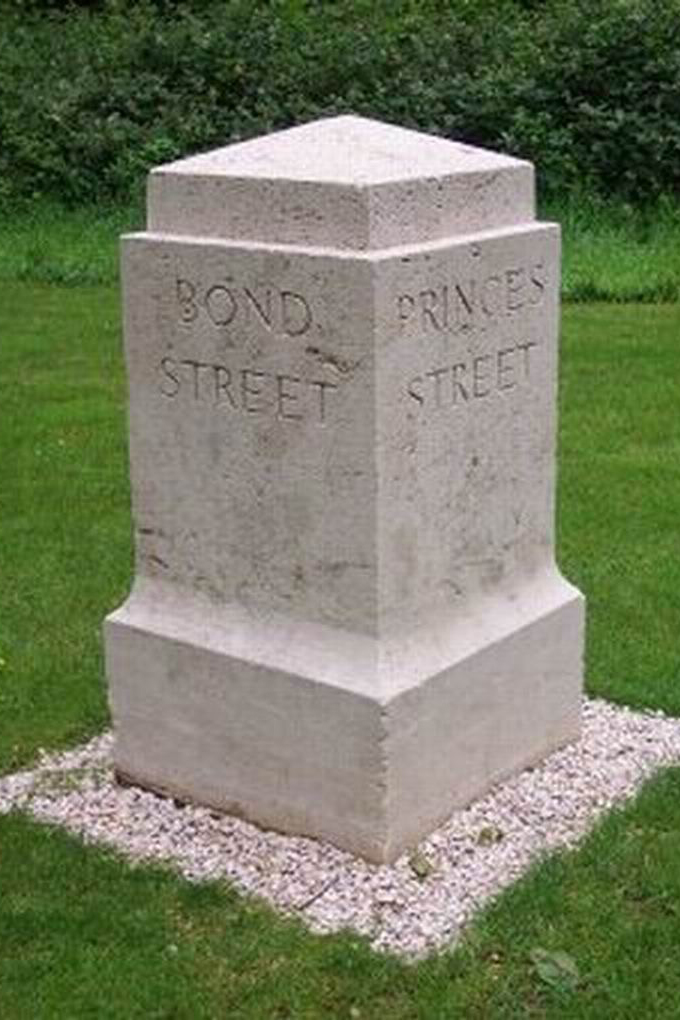 Bond St/Princes St marker. Where the South African Brigade first entered the Wood