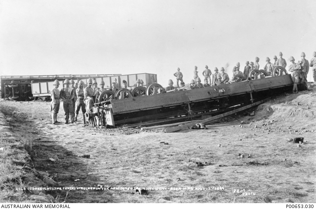 Natal, South Africa, 1899. An armoured train, used by the British, that was wrecked on 15 November 1899 by the Boers near Frere camp Source: Australian War Memorial