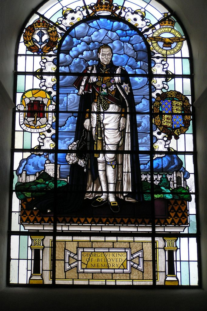 Stained glass window of King George 6th, the King's Chapel