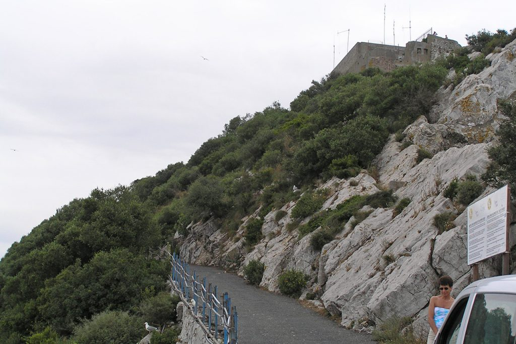 The steep narrow road to the top Gibralter peak