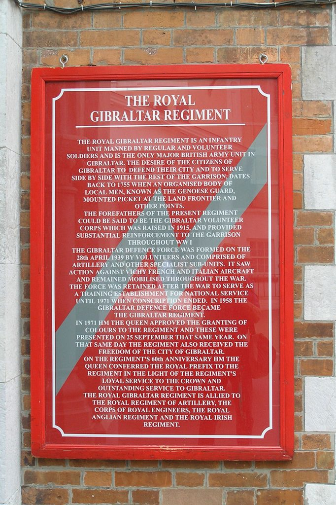 The Royal Gibraltar Regiment plaque
