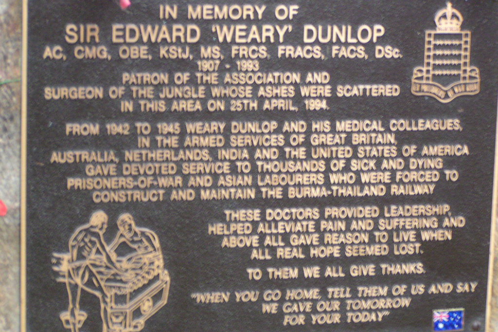 Hellfire Pass plaque to Sir Edward Weary Dunlop