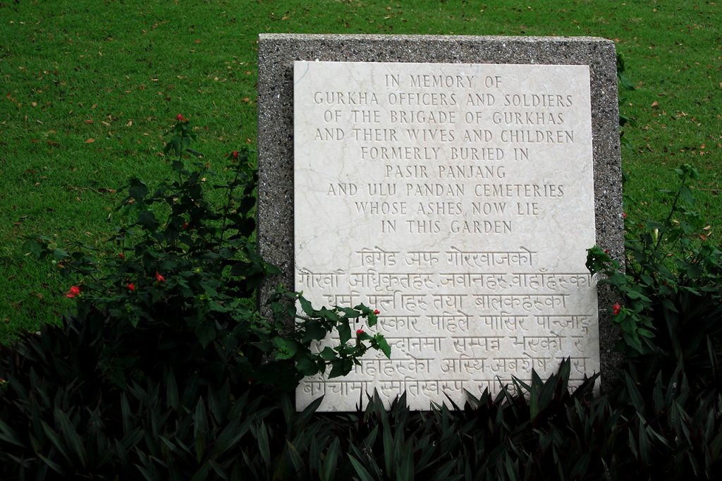 Gurkha officers and men and their wives and children buried elsewhere