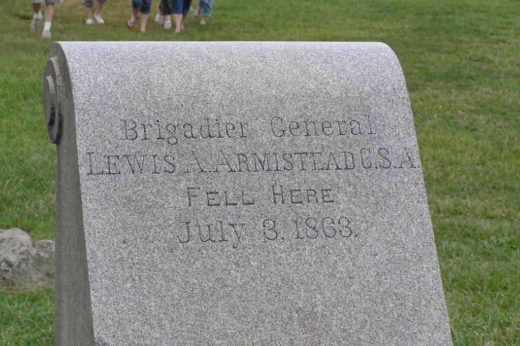Brigadier General Lewis A. Armistead CSA, fell here July 3, 1863