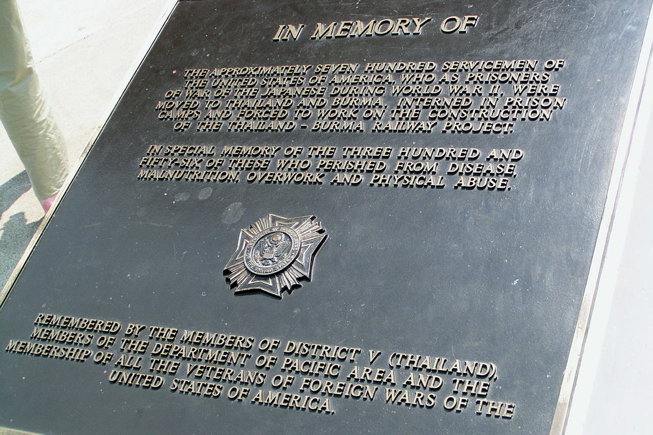 The plaque honouring the American POWs